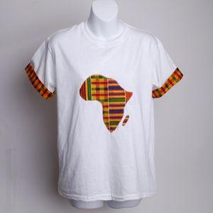 white t-shirt with kente trim